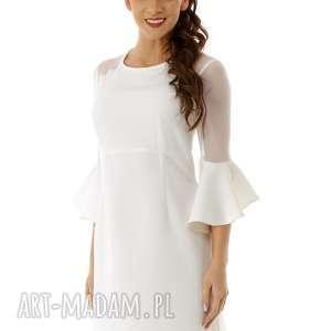 Sukienka szerokimi rękawami i tiulowymi wstawkami ecru, elegancka-sukienka