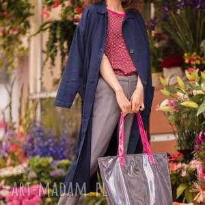 torba shopper szara z różowymi uchwytami fuksja, na ramie, do pracy