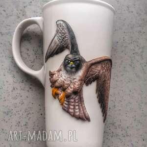 kubek sokół, ptak duży biały, herbata kawa, prezent urodziny kubki