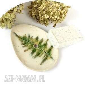 ceramika ceramiczna mydelniczka paproć, polskie rzemiosło, polska