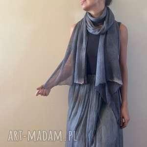 Elegancki lniany ręcznie barwiony szal, len, lniany, dzianina, naturalny,