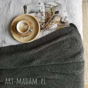 koc popielaty 50 wełny, na drutach, z wełniany