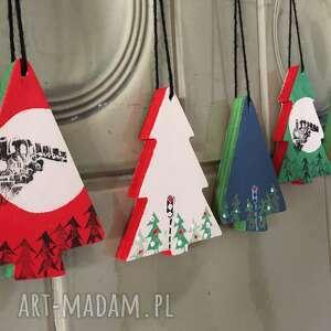 dekoracje zestaw 6 ozdób świątecznych ze sklejki, linoryt seria locomotive 1