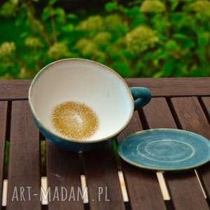 ceramika duża filiżanka kubek z talerzykiem oryginalny prezent morska szklanym dnem