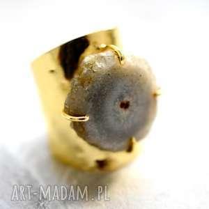 madamlili pozłacany pierścionek kwarc solarny regulowany, kobiecy