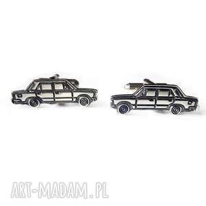 Srebrne spinki do mankietów auto Fiat 125p, srebro, męska, spinkidomankietów