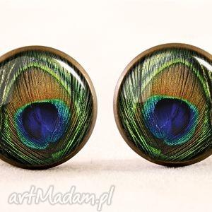 Pawie oczka - Kolczyki wkrętki, pawie, oko, sztyfty, kolczyki, wkręty, pióra