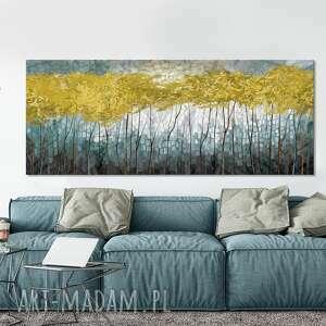 obraz drukowany na płótnie z drzewami w odcieniach turkusów 150x60cm