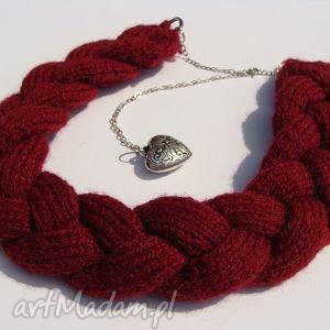 mania design bordowy naszyjnik z wełny w kształcie warkocza, wełna, włóczka, warkocz