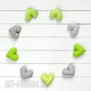 sercowa pozioma girlanda, 9 serc szaro-zielonych - girlanda, dekoracja, serce, dziecko