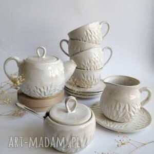 zastawa ceramiczna, prezent na ślub, czajnik, cukiernica, ceramika, filiżanka
