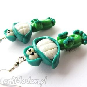 KOLCZYKI dwie uśmiechnięte żabcie, kolczyki, żaby, żaba, modelina, fimo