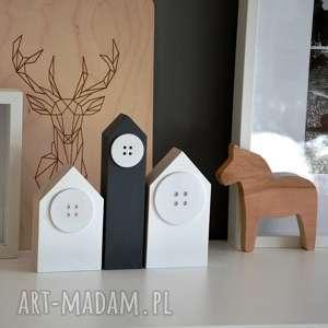 handmade dekoracje 3 domki drewniane