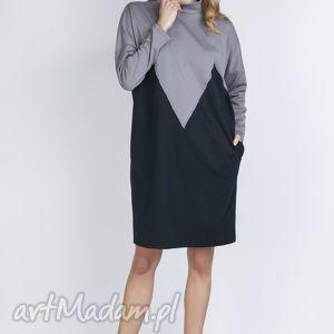 Dwukolorowa sukienka, SUK134 szary, kieszenie, szara, granatowa, golf, luźna, łezka