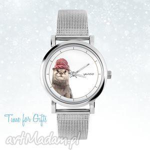Prezent Zegarek, bransoletka - Wydra mały, zegarek, metalowy, pasek, wydra, zimowy