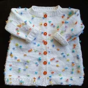 ręczne wykonanie sweterek - płaszczyk łączka