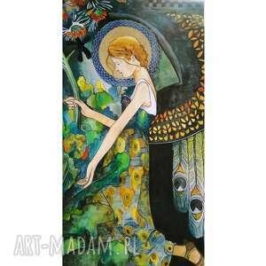 obraz anioł w ogrodzie, anioł, akwarela, secesja, prezent