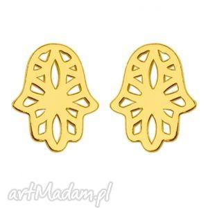 złote kolczyki z ażurową ręką fatimy - pozłacane