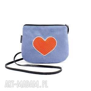 hand made mini torebka damska z sercem w kropki