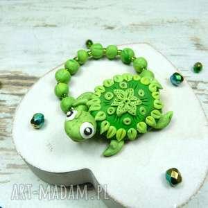urocza bransoletka zielony żółwik, żółw, lato, fimo, wakacje, bransoletka