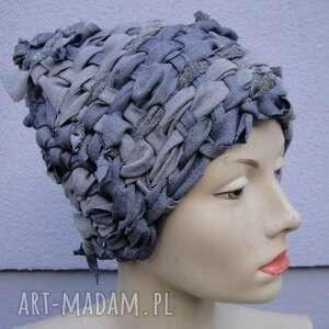 czapki czapka tkana śnieżna, tkana, srebrny, połyskliwy, unikat, dżins, jeans
