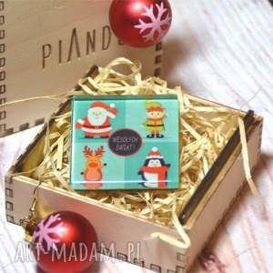 magnes szklany w drewnianym pudełku - prezent na święta, szkło, bałwan, pudełko