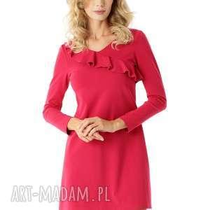 sukienka z falbanką przy dekolcie malinowa 009, elegancka sukienka, modna