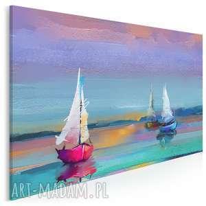 obraz na płótnie - kolorowy żaglówki mazury jezioro 120x80