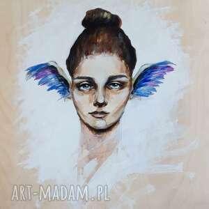pierzasta 2 obraz farbami akrylowymi na drewnie artystki adriany laube