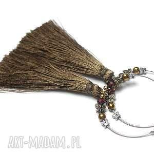 Alloys Collection /boho/ old gold - kolczyki, stal, szlachetna, chwosty, hematyty