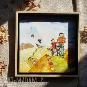 dom prezent na dzień ojca - personalizowana ilustracja, ilustarcja, akwarele
