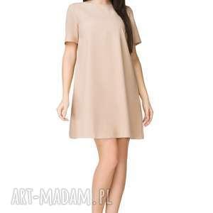 Sukienka trapezowa z krótkim rękawem, T203, beżowa, sukienka, trapezowa, krótki