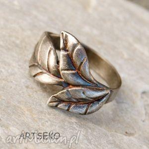 Pierścionek z listkiem B414, pierścionek, srebrny, liść