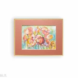 akwarela w ramce, oprawiony obrazek z kwuatami, malowany ręcznie obraz makami