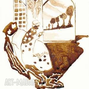 babuszka - obraz kawą malowany, babuszka, nostalgia, kawa, coffeepainting, lektura