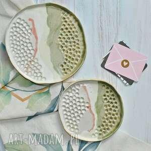 monifaktura zestaw 2 talerzy ceramicznych przedwiośnie, rękodzieło