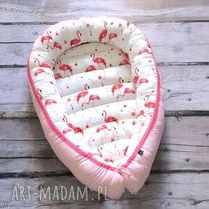 ręcznie robione dla dziecka kokon, gniazdko niemowlęce flamingi