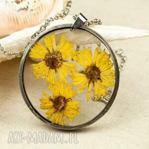 naszyjniki naszyjnik z żółtymi kwiatami w żywicy z119, ze złocieniami