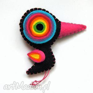 ptaszydełko - broszka, filc, ptak, oko, modny, lekki, miękki
