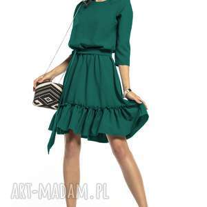 sukienki elegancka sukienka z falbaną ściągnięta w pasie, t285, szmaragdowy