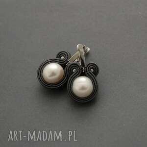 kolczyki sutasz z perłami, sznurek, wyjściowe, delikatne, eleganckie, perła