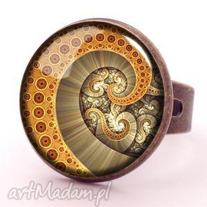 ośmiornica - pierścionek regulowany, graficzny, spirala