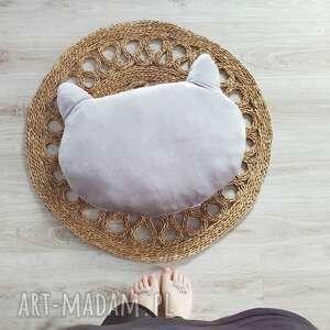 aksamitna poduszka kocia główka, poduszka, kocia, aksamitna, szara
