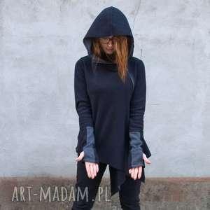 Sweter damski asymetryczny czarny Basanti mini, sweter, asymetryczny, bluza, ciepła