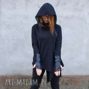 navahoclothing sweter damski asymetryczny czarny basanti mini