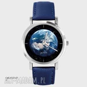 Prezent Zegarek, bransoletka - Ziemia granatowy, skórzany, zegarek, pasek