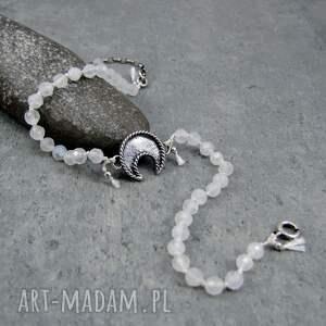 bransoletka na nogę - lunula i kamień księżycowy, nogę, lunula, księżyc