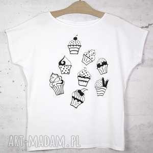 muffinki koszulka bawełniana biała z nadrukiem s/m, koszulka, t shirt, biały