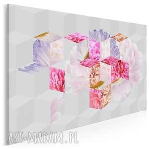 obraz na płótnie - kwiaty abstrakcja geometria 120x80 cm 33901