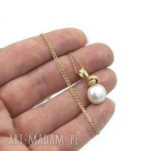 naszyjniki lady pearl, perła, naszyjnik, wisiorek, pozłacany, aniagrys
